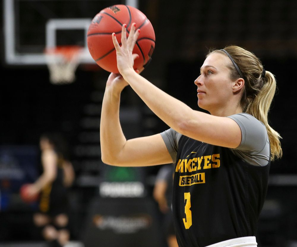 Iowa Hawkeyes guard Makenzie Meyer (3) shoots at a practice during the 2019 NCAA Women's Basketball Tournament at Carver Hawkeye Arena in Iowa City on Saturday, Mar. 23, 2019. (Stephen Mally for hawkeyesports.com)