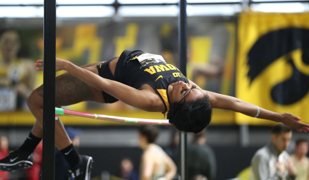 Iowa's Tria Simmons competes in the high jump during the 2019 Larry Wieczorek Invitational  Friday, January 18, 2019 at the Recreation Building. (Brian Ray/hawkeyesports.com)