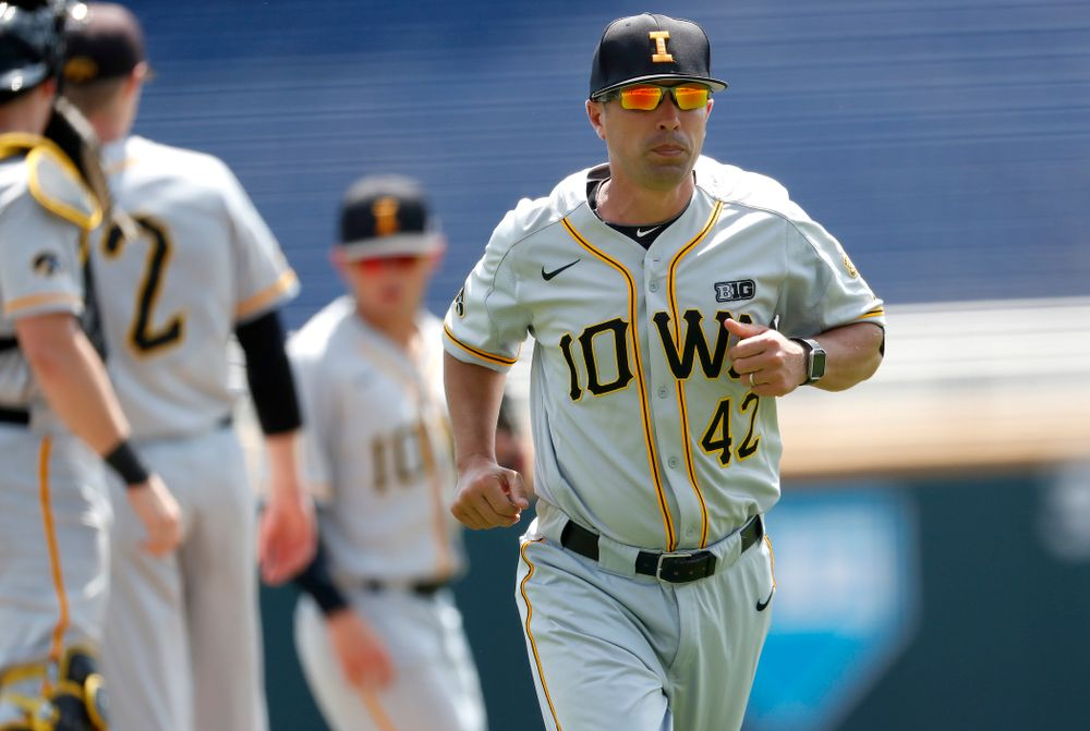 Iowa Hawkeyes pitching coach Desi Druschel against the Michigan Wolverines in the first round of the Big Ten Baseball Tournament  Wednesday, May 23, 2018 at TD Ameritrade Park in Omaha, Neb. (Brian Ray/hawkeyesports.com)