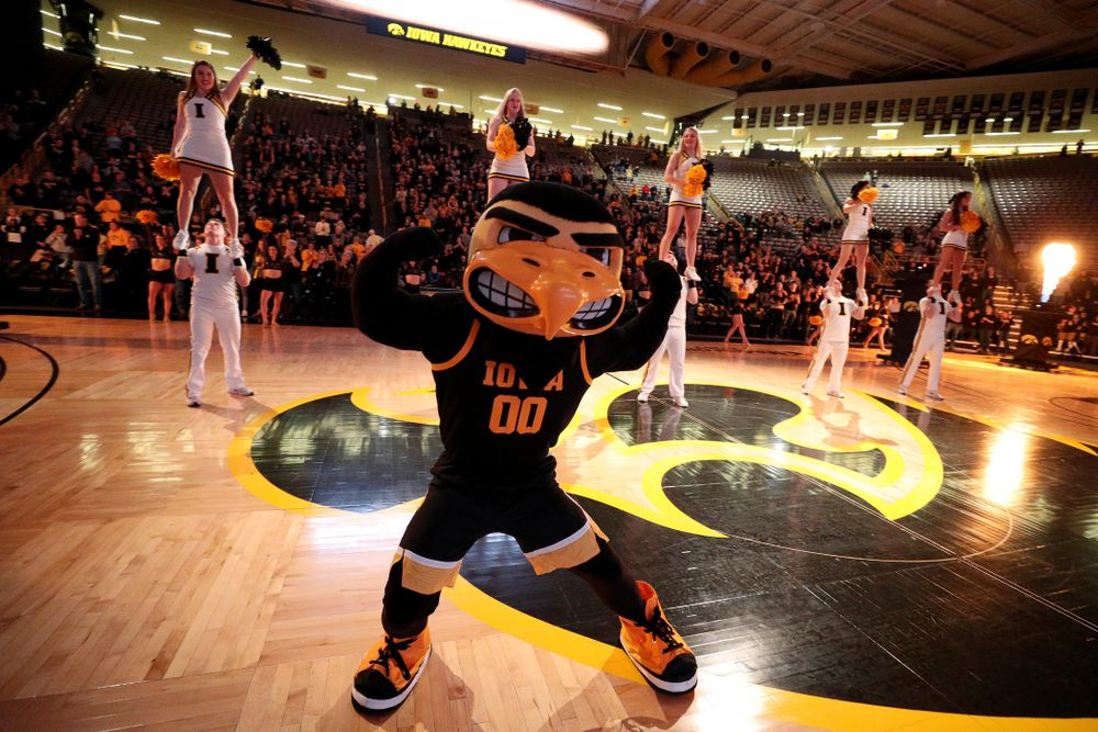 Herky The Hawk before the Iowa Hawkeyes game against Clemson Wednesday, December 4, 2019 at Carver-Hawkeye Arena. (Brian Ray/hawkeyesports.com)