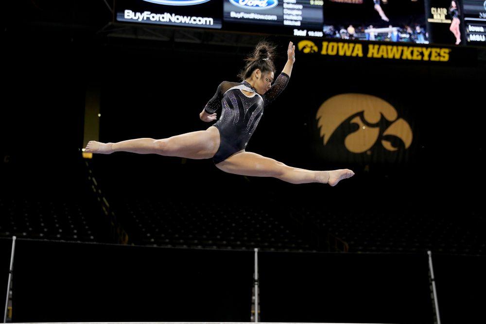 Iowa's Clair Kaji competes on the beam against Michigan State Saturday, February 1, 2020 at Carver-Hawkeye Arena. (Brian Ray/hawkeyesports.com)