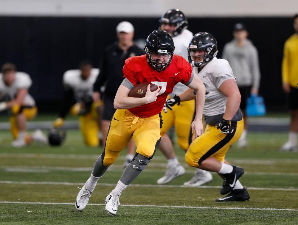 Iowa Hawkeyes quarterback Spencer Petras (7) Wednesday, April 4, 2018 at the Hansen Football Performance Center. (Brian Ray/hawkeyesports.com)