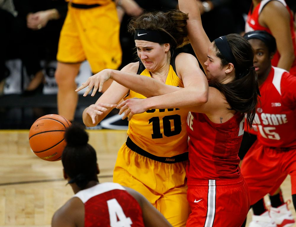 Iowa Hawkeyes forward Megan Gustafson (10) is fouled during a game against the Ohio State Buckeyes at Carver-Hawkeye Arena on January 25, 2018. (Tork Mason/hawkeyesports.com)