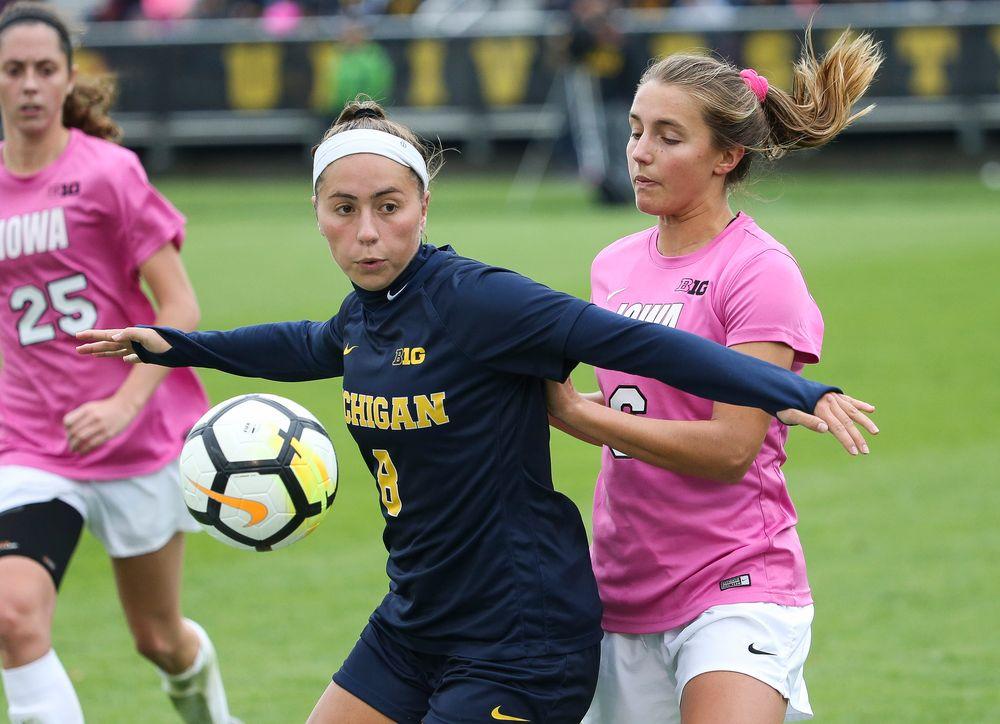 Iowa Hawkeyes midfielder Isabella Blackman (6) defends during a game against Michigan at the Iowa Soccer Complex on October 14, 2018. (Tork Mason/hawkeyesports.com)
