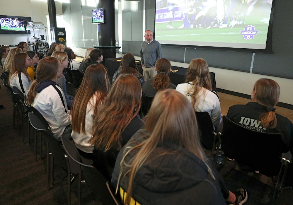 Iowa head coach Dave DiIanni talks with his team after watching the NCAA women's soccer section show at Carver-Hawkeye Arena in Iowa City on Monday, Nov 11, 2019. (Stephen Mally/hawkeyesports.com)