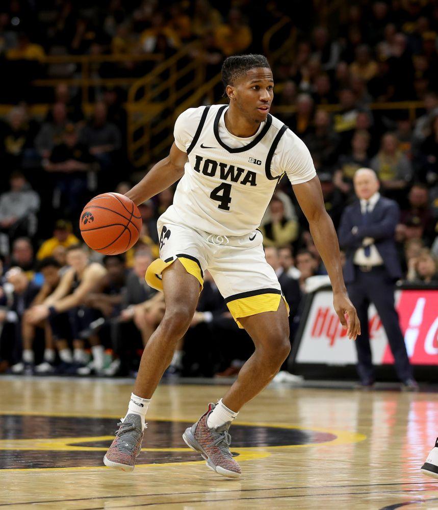 Iowa Hawkeyes guard Bakari Evelyn (4) against Penn State Saturday, February 29, 2020 at Carver-Hawkeye Arena. (Brian Ray/hawkeyesports.com)