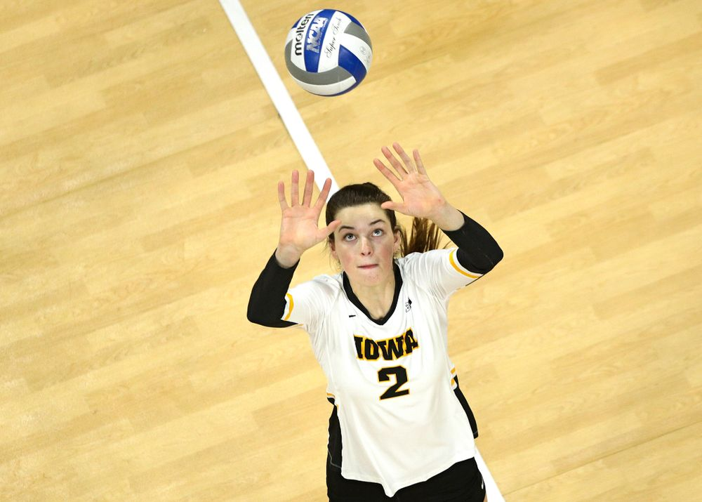 Iowa's Courtney Buzzerio (2) eyes the ball during the second set of their match at Carver-Hawkeye Arena in Iowa City on Saturday, Nov 30, 2019. (Stephen Mally/hawkeyesports.com)