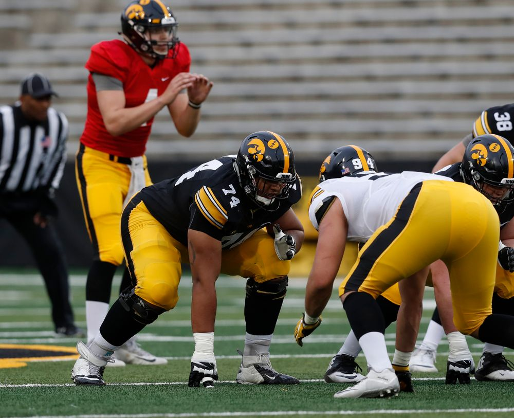 Iowa Hawkeyes offensive lineman Tristan Wirfs (74) during the final spring practice Friday, April 20, 2018 at Kinnick Stadium. (Brian Ray/hawkeyesports.com)