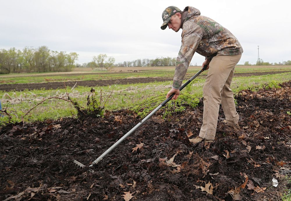 Iowa wrestlers work in the field for Grow: Johnson County at the Johnson County Historic Poor Farm during the 21st annual ISAAC Hawkeye Day of Caring in Iowa City on Sunday, Apr. 28, 2019. (Stephen Mally/hawkeyesports.com)