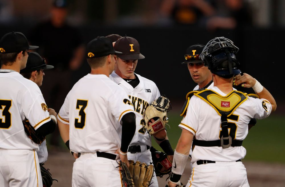 Iowa Hawkeyes pitching coach Desi Druschel against the Penn State Nittany Lions  Thursday, May 17, 2018 at Duane Banks Field. (Brian Ray/hawkeyesports.com)