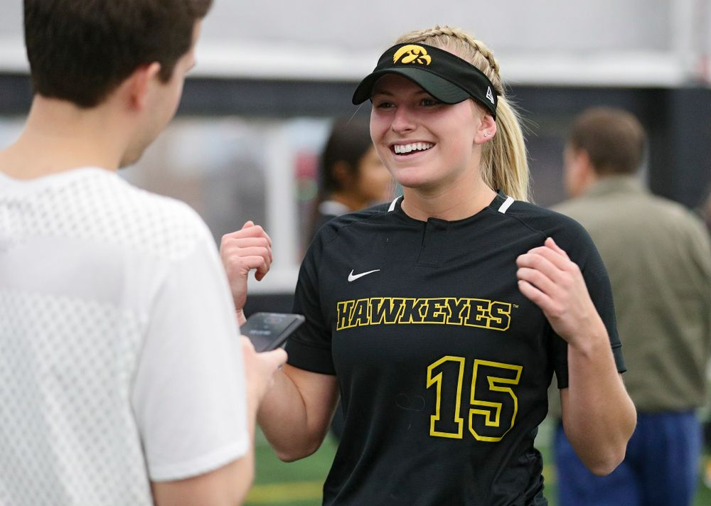 Iowa infielder Erin Carter (15) answers questions during Iowa Softball Media Day at the Hawkeye Tennis and Recreation Complex in Iowa City on Thursday, January 30, 2020. (Stephen Mally/hawkeyesports.com)