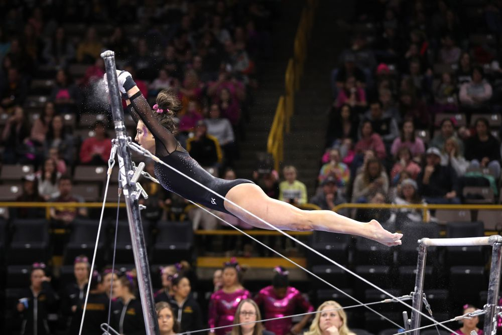 Iowa's Jax Krantz competes on the bars during their meet against the Minnesota Golden Gophers Saturday, January 19, 2019 at Carver-Hawkeye Arena. (Brian Ray/hawkeyesports.com)