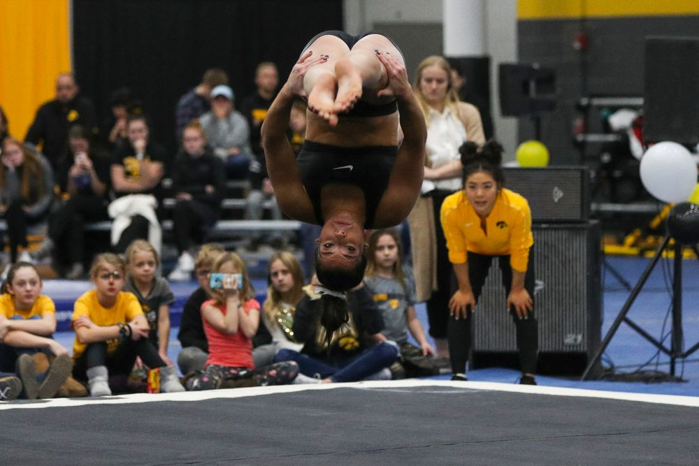 Ariana Agrapides performs a floor routine during the Iowa women's gymnastics Black and Gold Intraquad Meet on Saturday, December 7, 2019 at the UI Field House. (Lily Smith/hawkeyesports.com)
