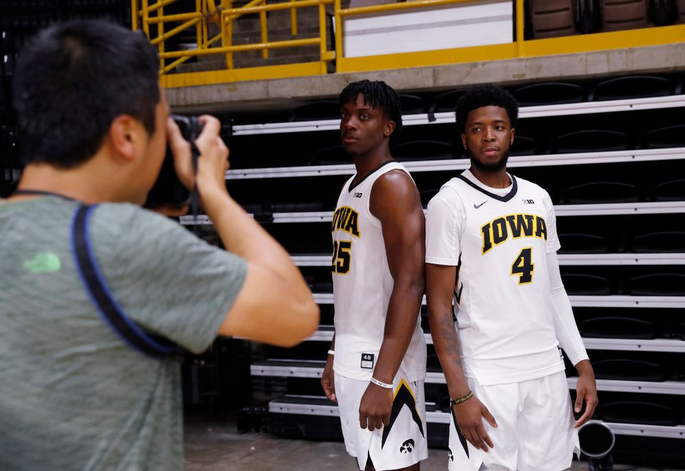 Iowa Hawkeyes forward Tyler Cook (25) and guard Isaiah Moss (4) during the team's annual media day Monday, October 8, 2018 at Carver-Hawkeye Arena. (Brian Ray/hawkeyesports.com)