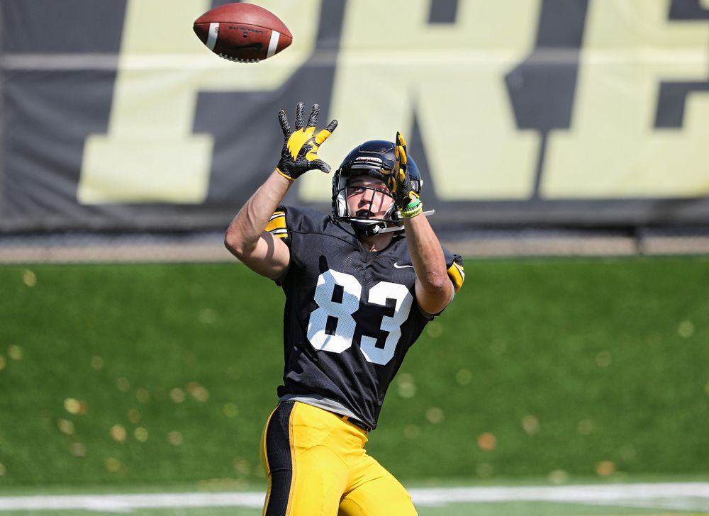 Iowa Hawkeyes wide receiver Alec Kritta (83) eyes a pass during Fall Camp Practice #5 at the Hansen Football Performance Center in Iowa City on Tuesday, Aug 6, 2019. (Stephen Mally/hawkeyesports.com)