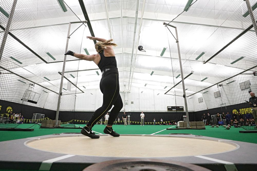 Iowa's Allison Wahrman throws in the women's weight throw event during the Hawkeye Invitational at the Hawkeye Tennis and Recreation Complex in Iowa City on Friday, January 10, 2020. (Stephen Mally/hawkeyesports.com)