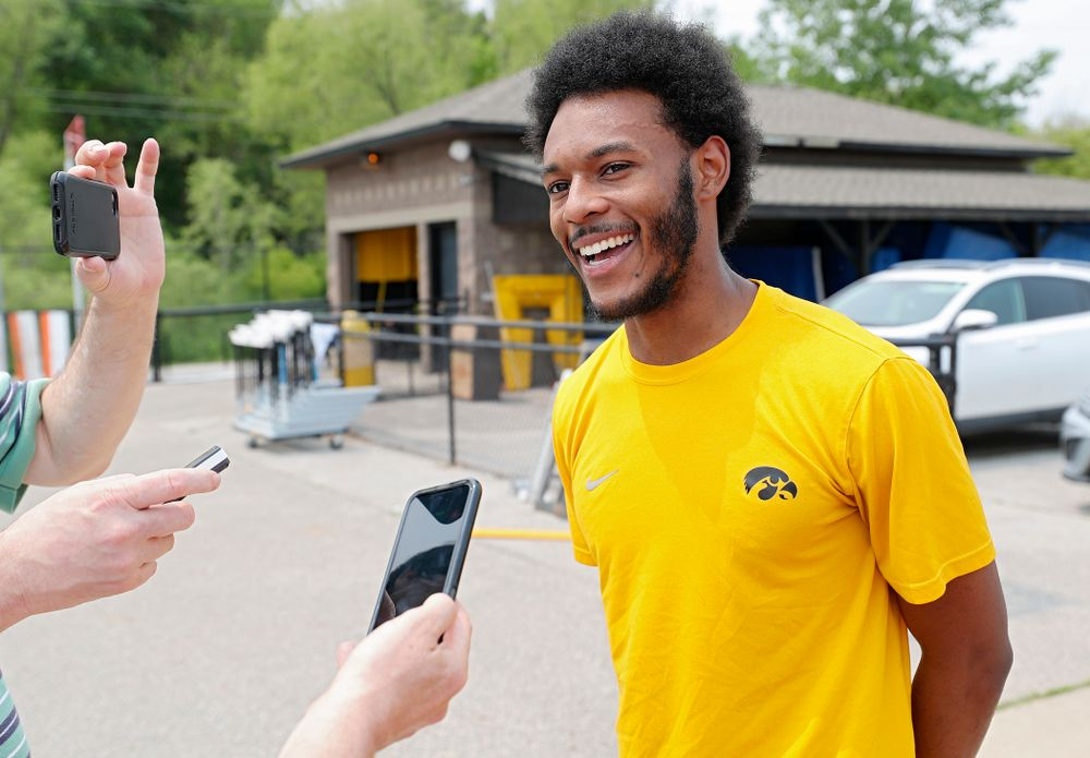 Iowa's Mar'yea Harris answers questions during a media availability at Francis X. Cretzmeyer Track in Iowa City on Friday, May 31, 2019. (Stephen Mally/hawkeyesports.com)
