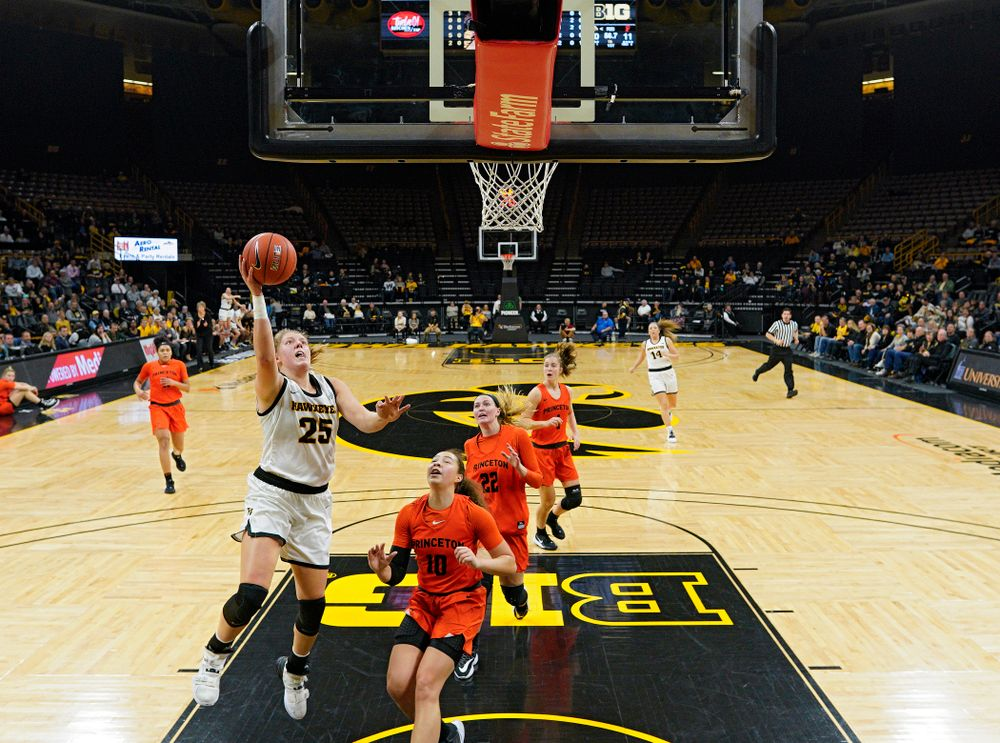 Iowa forward/center Monika Czinano (25) scores a basket during the first quarter of their overtime win against Princeton at Carver-Hawkeye Arena in Iowa City on Wednesday, Nov 20, 2019. (Stephen Mally/hawkeyesports.com)