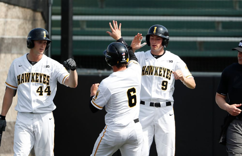 Iowa Hawkeyes outfielder Justin Jenkins (6), outfielder Ben Norman (9), and outfielder Robert Neustrom (44) against the Missouri Tigers Tuesday, May 1, 2018 at Duane Banks Field. (Brian Ray/hawkeyesports.com)