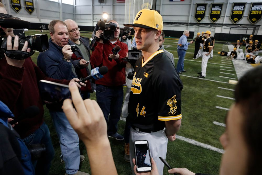Iowa Hawkeyes outfielder Robert Neustrom (44) answers questions from reporters during the team's annual media day Thursday, February 8, 2018 in the indoor practice facility. (Brian Ray/hawkeyesports.com)