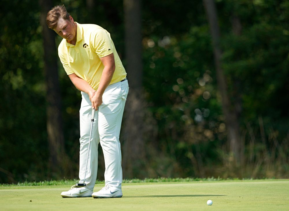 Iowa's Alex Schaake putts during the third day of the Golfweek Conference Challenge at the Cedar Rapids Country Club in Cedar Rapids on Tuesday, Sep 17, 2019. (Stephen Mally/hawkeyesports.com)