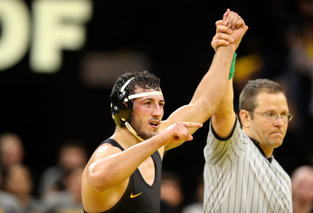 Iowa's Michael Kemerer celebrates after his 11-6 decision over Penn State's Mark Hall in his 174-pound match during their dual at Carver-Hawkeye Arena in Iowa City on Friday, January 31, 2020. (Stephen Mally/hawkeyesports.com)