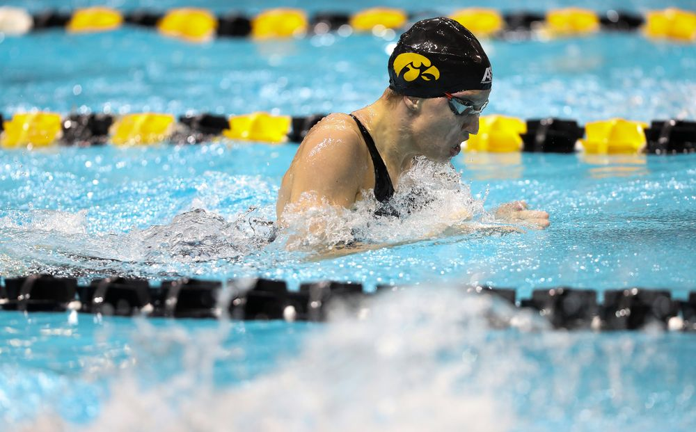 Iowa's Sage Ohlensehlen competes in the 100-yard breaststroke during the third day of the Hawkeye Invitational at the Campus Recreation and Wellness Center on November 16, 2018. (Tork Mason/hawkeyesports.com)