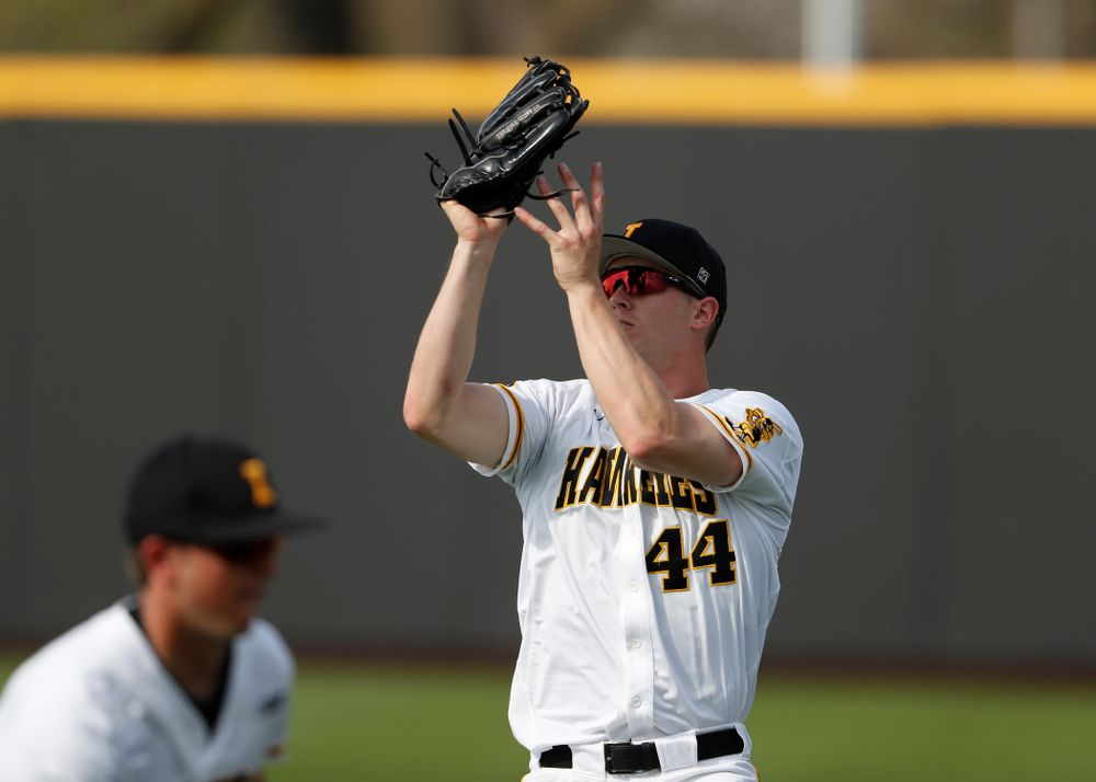 Iowa Hawkeyes outfielder Robert Neustrom (44) against the Missouri Tigers Tuesday, May 1, 2018 at Duane Banks Field. (Brian Ray/hawkeyesports.com)