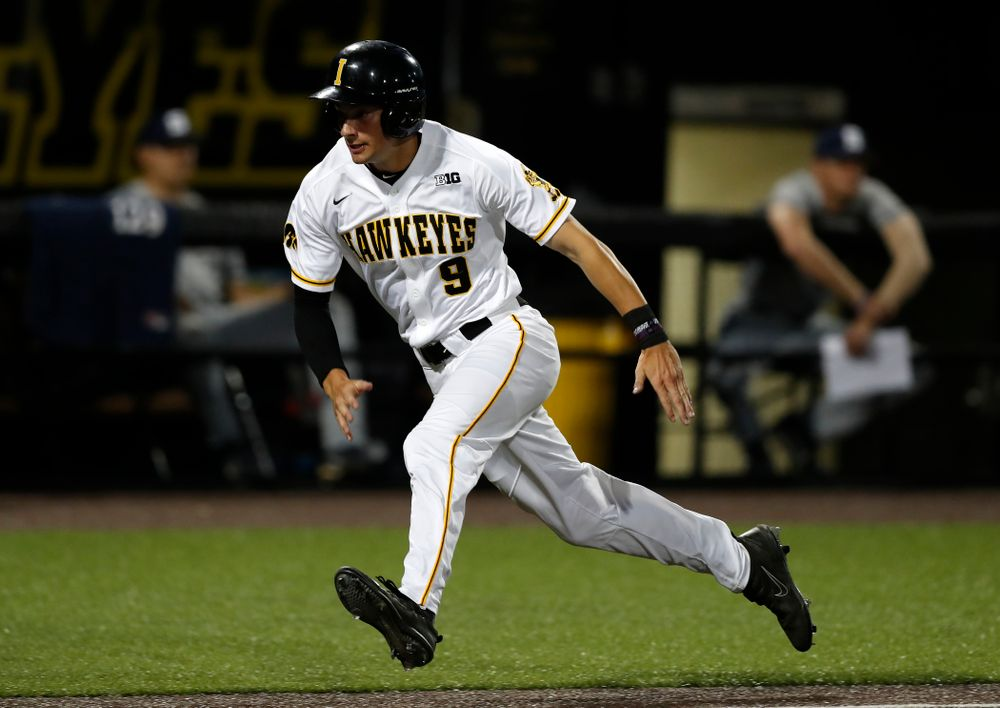 Iowa Hawkeyes outfielder Ben Norman (9) against the Penn State Nittany Lions  Thursday, May 17, 2018 at Duane Banks Field. (Brian Ray/hawkeyesports.com)