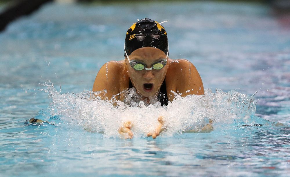 Iowa's Devin Jacobs competes in the 200-yard breaststroke during the third day of the Hawkeye Invitational at the Campus Recreation and Wellness Center on November 17, 2018. (Tork Mason/hawkeyesports.com)