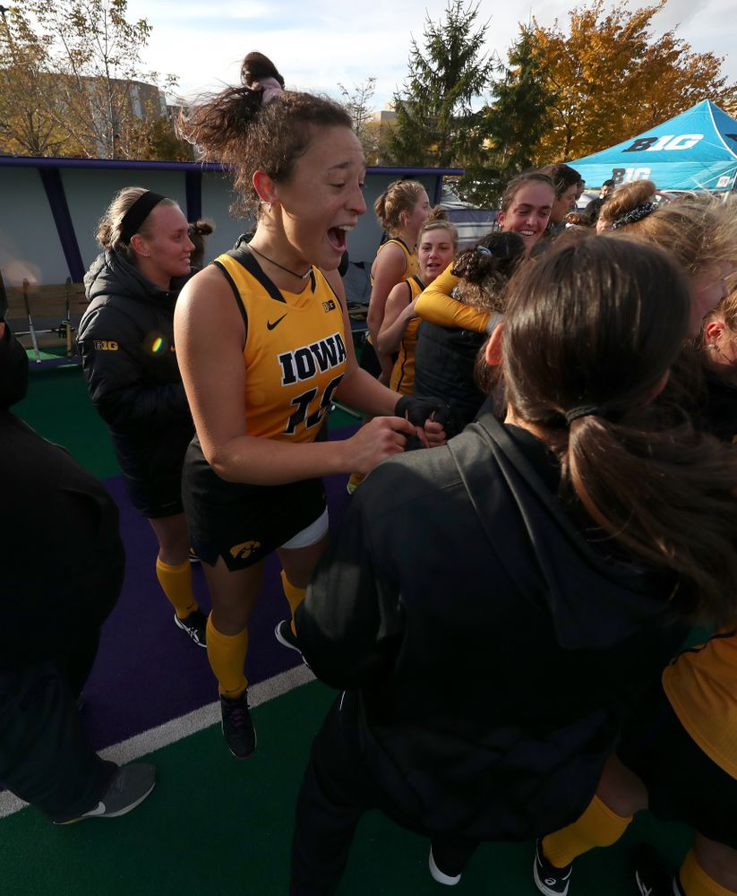 Iowa Hawkeyes Mya Christopher (18) celebrates their victory against the Michigan Wolverines in the semi-finals of the Big Ten Tournament Friday, November 2, 2018 at Lakeside Field on the campus of Northwestern University in Evanston, Ill. (Brian Ray/hawkeyesports.com)
