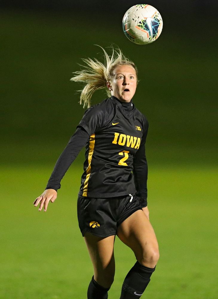 Iowa midfielder Hailey Rydberg (2) eyes the ball during the second half of their match at the Iowa Soccer Complex in Iowa City on Friday, Oct 11, 2019. (Stephen Mally/hawkeyesports.com)