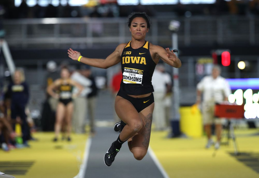 Iowa's Tria Simmons competes in the long jump during the Black and Gold Premier meet Saturday, January 26, 2019 at the Recreation Building. (Brian Ray/hawkeyesports.com)