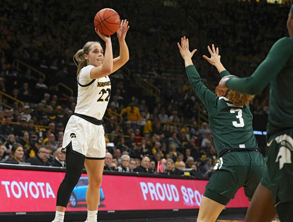 Iowa Hawkeyes guard Kathleen Doyle (22) puts up a shot during the first quarter of their game at Carver-Hawkeye Arena in Iowa City on Sunday, January 26, 2020. (Stephen Mally/hawkeyesports.com)