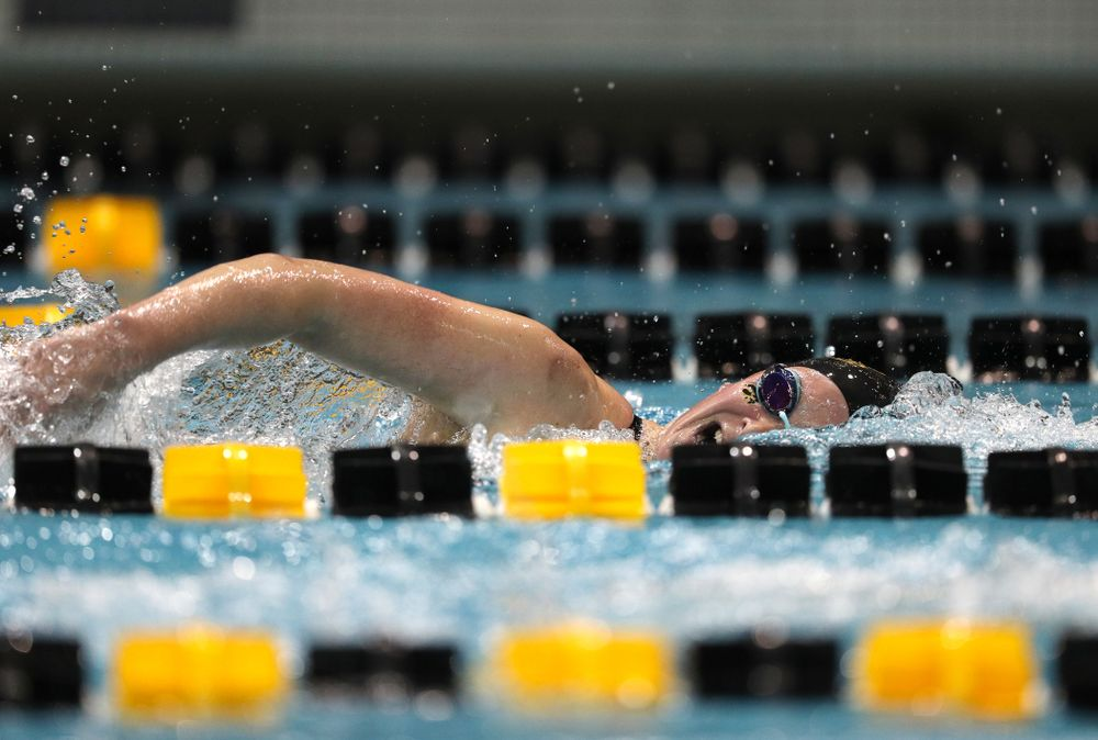 Iowa's Abbey Schneider swims the 500-yard freestyle against the Iowa State Cyclones in the Iowa Corn Cy-Hawk Series Friday, December 7, 2018 at at the Campus Recreation and Wellness Center. (Brian Ray/hawkeyesports.com)