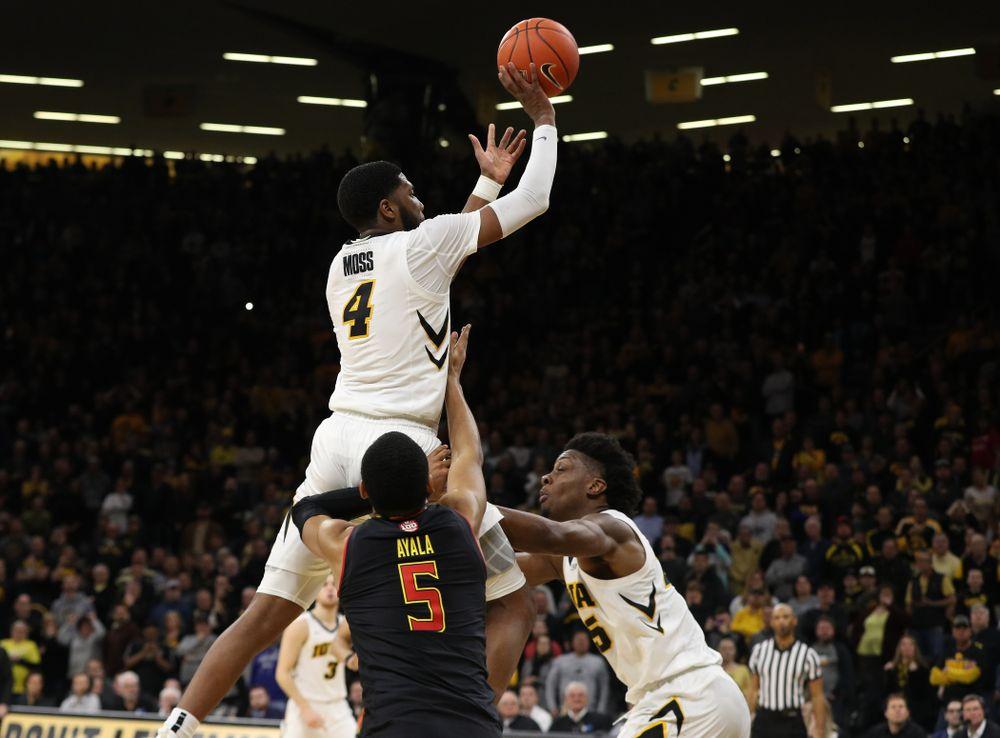 Iowa Hawkeyes guard Isaiah Moss (4) against the Maryland Terapins Tuesday, February 19, 2019 at Carver-Hawkeye Arena. (Brian Ray/hawkeyesports.com)