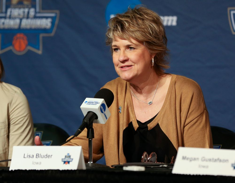 Iowa Hawkeyes head coach Lisa Bluder talks during their press availability after winning their game in the first round of the 2019 NCAA Women's Basketball Tournament at Carver Hawkeye Arena in Iowa City on Friday, Mar. 22, 2019. (Stephen Mally for hawkeyesports.com)