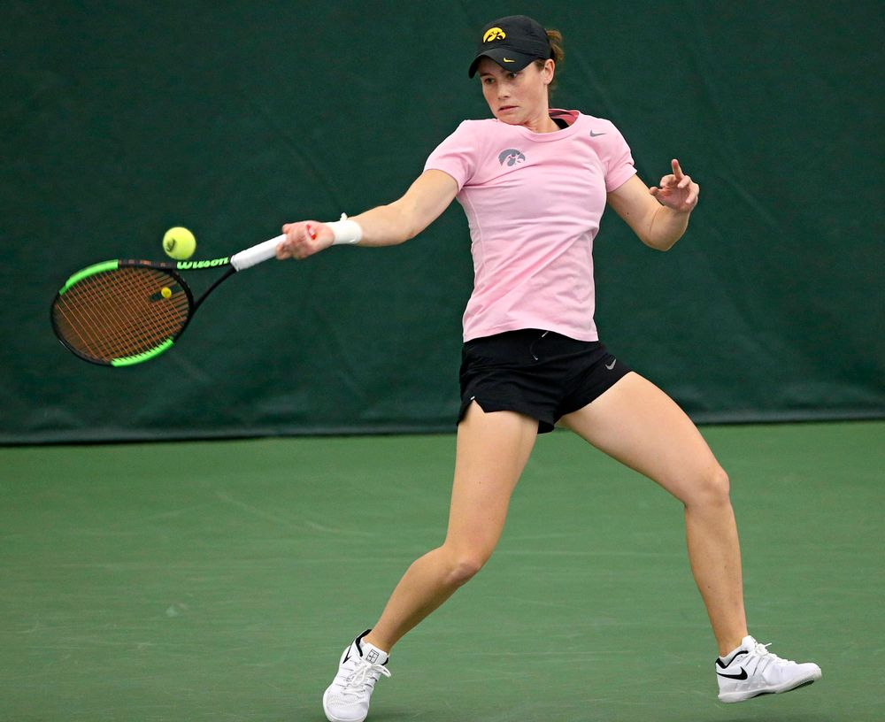 Iowa's Elise van Heuvelen Treadwell plays a match against Purdue at the Hawkeye Tennis and Recreation Complex in Iowa City on Friday, Mar. 29, 2019. (Stephen Mally/hawkeyesports.com)