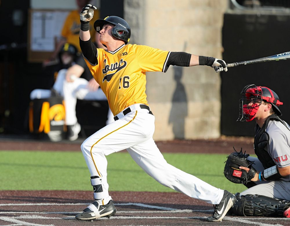 Iowa Hawkeyes shortstop Tanner Wetrich (16) hits a home run during the fifth inning of their game against Northern Illinois at Duane Banks Field in Iowa City on Tuesday, Apr. 16, 2019. (Stephen Mally/hawkeyesports.com)