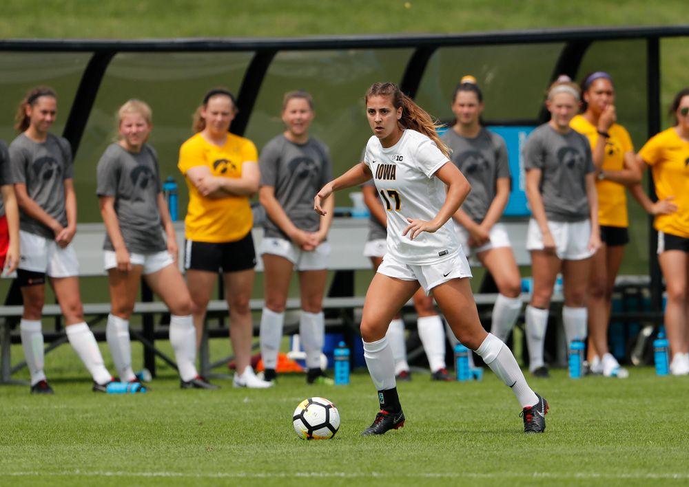 Iowa Hawkeyes Hannah Drkulec (17) against the Creighton Bluejays  Sunday, August 19, 2018 at the Iowa Soccer Complex. (Brian Ray/hawkeyesports.com)