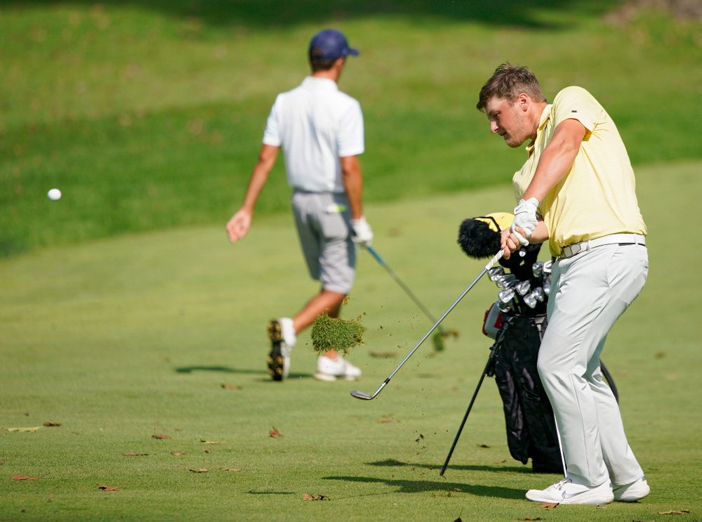Iowa's Alex Schaake hits from the fairway during the third day of the Golfweek Conference Challenge at the Cedar Rapids Country Club in Cedar Rapids on Tuesday, Sep 17, 2019. (Stephen Mally/hawkeyesports.com)