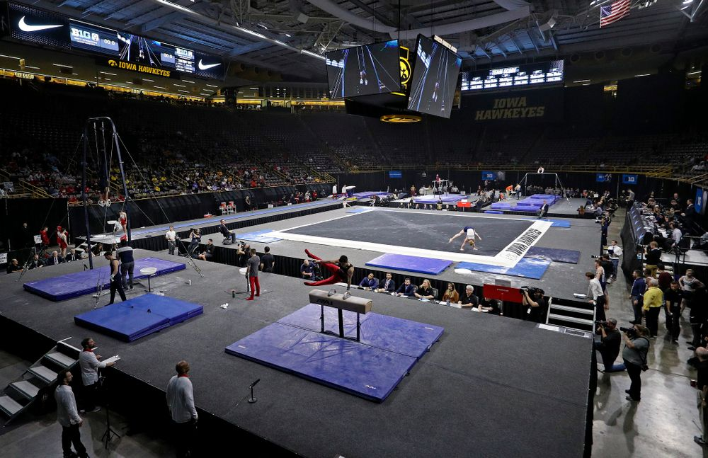 The first day of the Big Ten Men's Gymnastics Championships at Carver-Hawkeye Arena in Iowa City on Friday, Apr. 5, 2019. (Stephen Mally/hawkeyesports.com)
