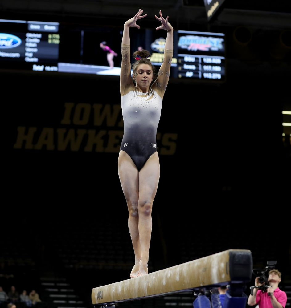 IowaÕs Bridget Killian competes on the beam against Ball State and Air Force Saturday, January 11, 2020 at Carver-Hawkeye Arena. (Brian Ray/hawkeyesports.com)