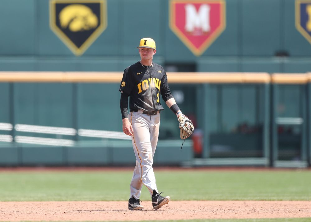 Iowa Hawkeyes infielder Brendan Sher (2) against the Nebraska Cornhuskers in the first round of the Big Ten Baseball Tournament Friday, May 24, 2019 at TD Ameritrade Park in Omaha, Neb. (Brian Ray/hawkeyesports.com)