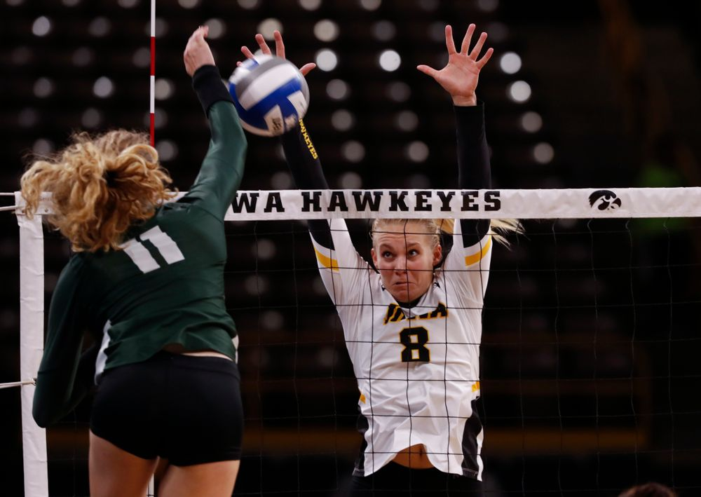 Iowa Hawkeyes right side hitter Reghan Coyle (8) against the Michigan State Spartans Friday, September 21, 2018 at Carver-Hawkeye Arena. (Brian Ray/hawkeyesports.com)