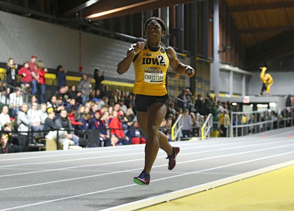 Iowa's Antonise Christian runs the women's 1600 meter relay premier event during the Larry Wieczorek Invitational at the Recreation Building in Iowa City on Saturday, January 18, 2020. (Stephen Mally/hawkeyesports.com)
