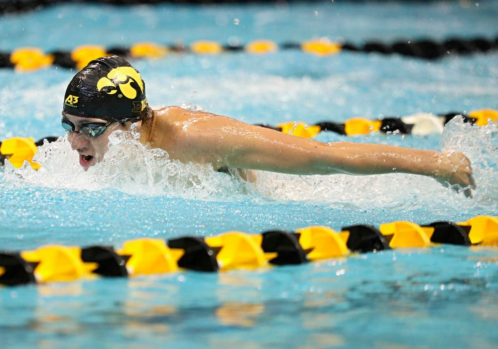 Iowa's Michael Tenney swims the men's 200-yard butterfly event during their meet against Michigan State and Northern Iowa at the Campus Recreation and Wellness Center in Iowa City on Friday, Oct 4, 2019. (Stephen Mally/hawkeyesports.com)