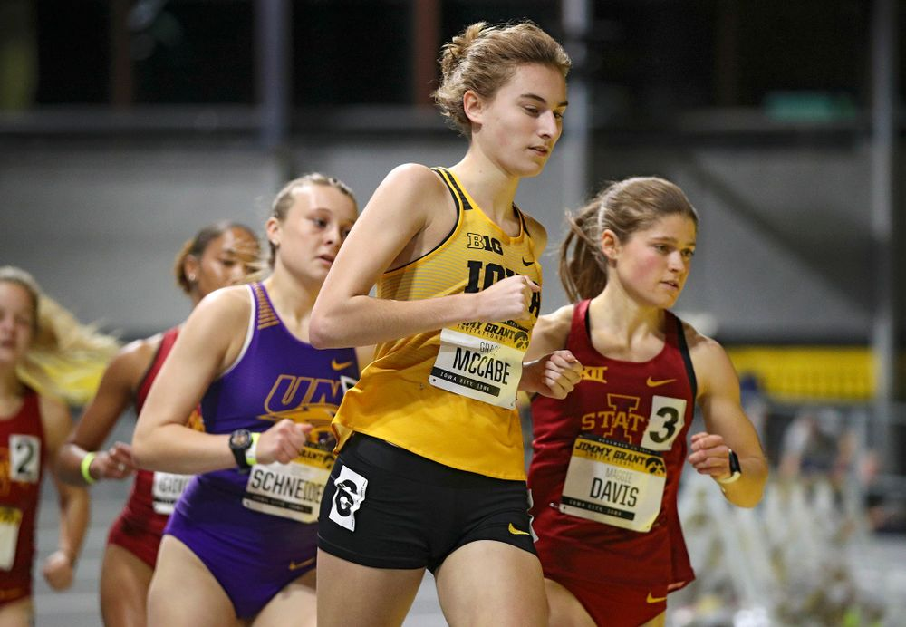 Iowa's Grace McCabe runs the women's 1000 meter run event during the Jimmy Grant Invitational at the Recreation Building in Iowa City on Saturday, December 14, 2019. (Stephen Mally/hawkeyesports.com)