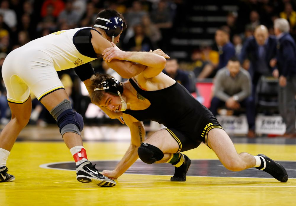 Iowa's Brandon Sorensen against Michigan's Ben Lamantia at 149 pounds