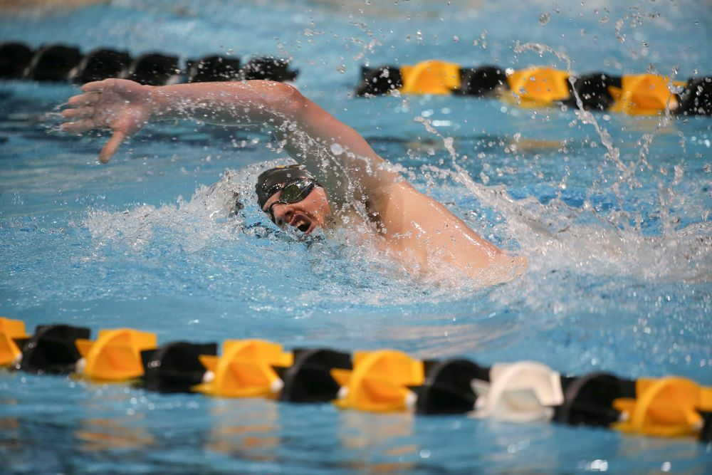 Iowa's Tom Schab swims the 1000-yard freestyle during the Iowa swimming and diving meet vs Notre Dame and Illinois on Saturday, January 11, 2020 at the Campus Recreation and Wellness Center. (Lily Smith/hawkeyesports.com)